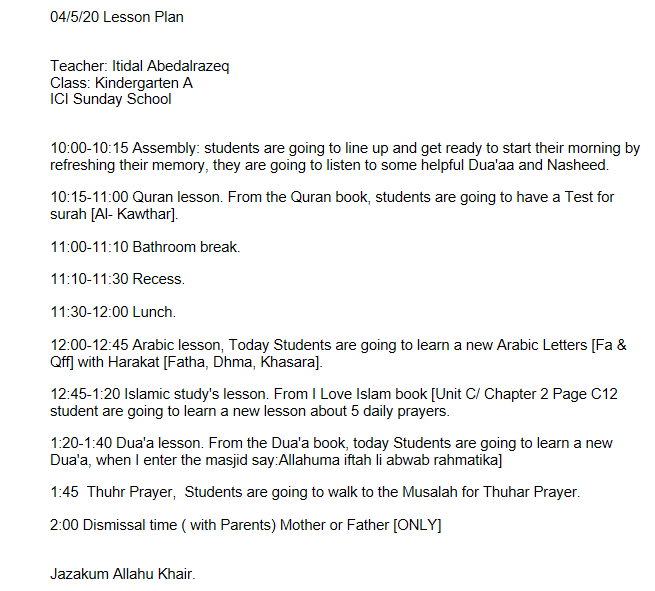 4/12/20 Weekly Lesson Plan